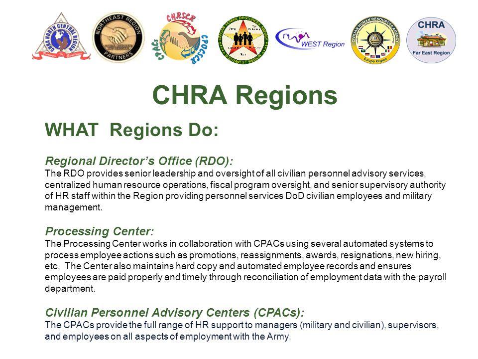 CHRA Regions WHAT Regions Do: Regional Director's Office (RDO):