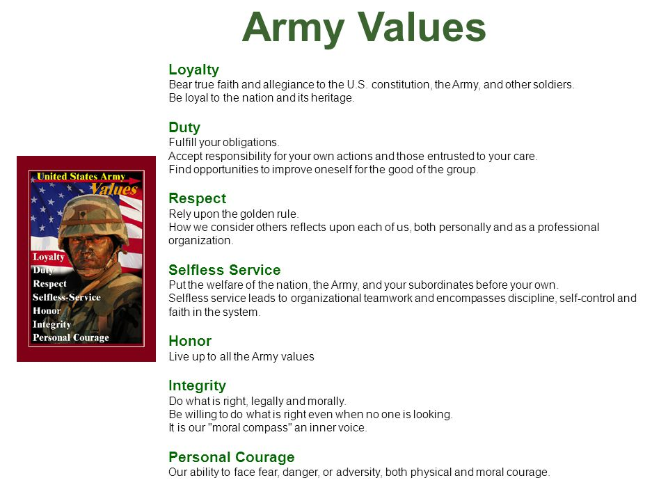army values essay Army values into the value of selfless service this shows how one army value works with the other loyalty, is an army value that helps tie all seven values together.