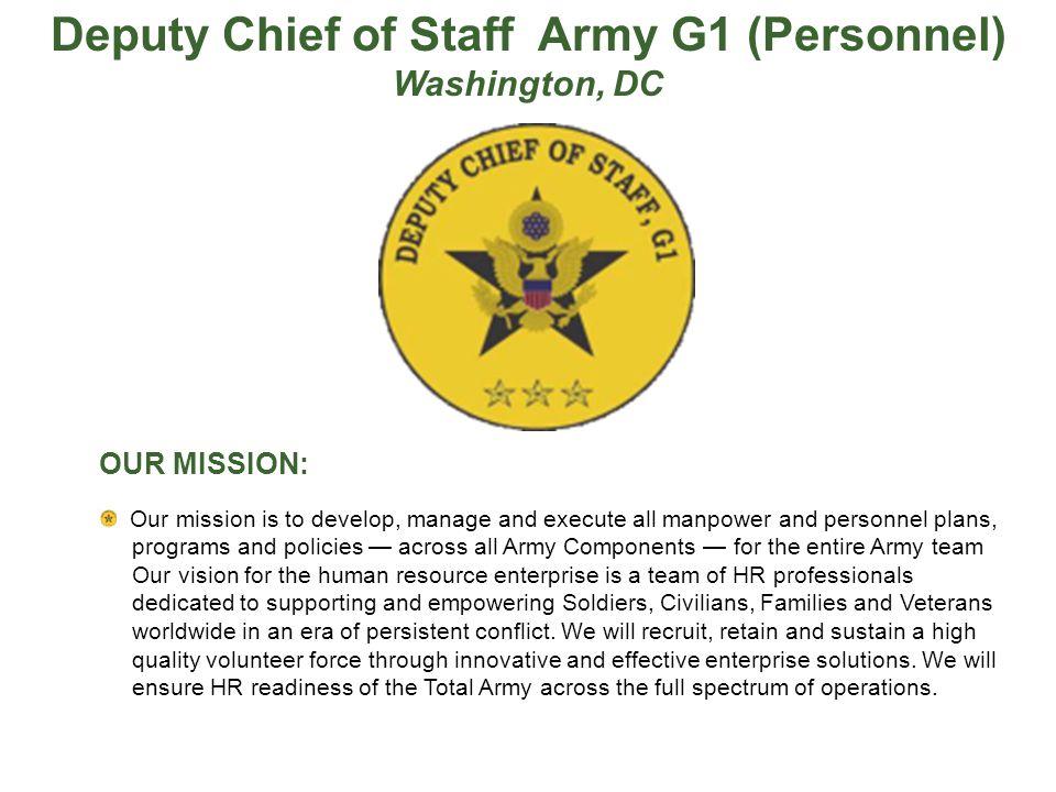 Deputy Chief of Staff Army G1 (Personnel)