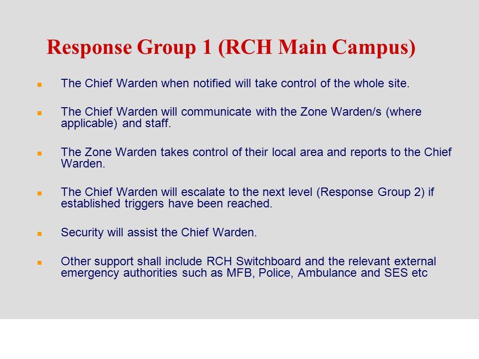 Response Group 1 (RCH Main Campus)