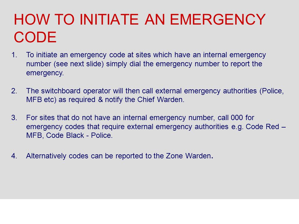 HOW TO INITIATE AN EMERGENCY CODE