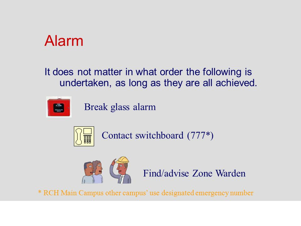 Alarm It does not matter in what order the following is undertaken, as long as they are all achieved.