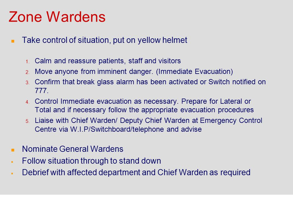 Zone Wardens Take control of situation, put on yellow helmet