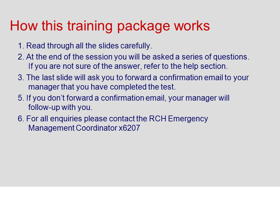 How this training package works