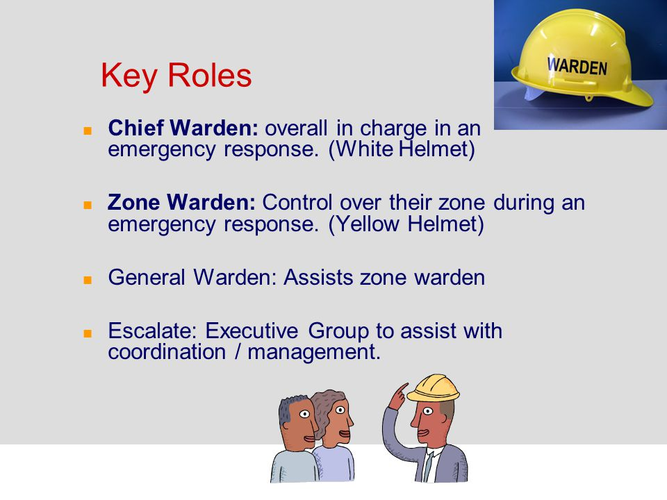 Key Roles Chief Warden: overall in charge in an emergency response. (White Helmet)