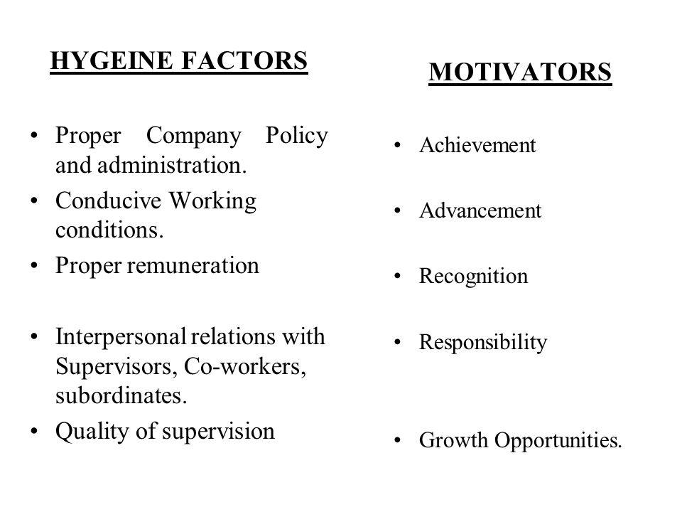 HYGEINE FACTORS MOTIVATORS