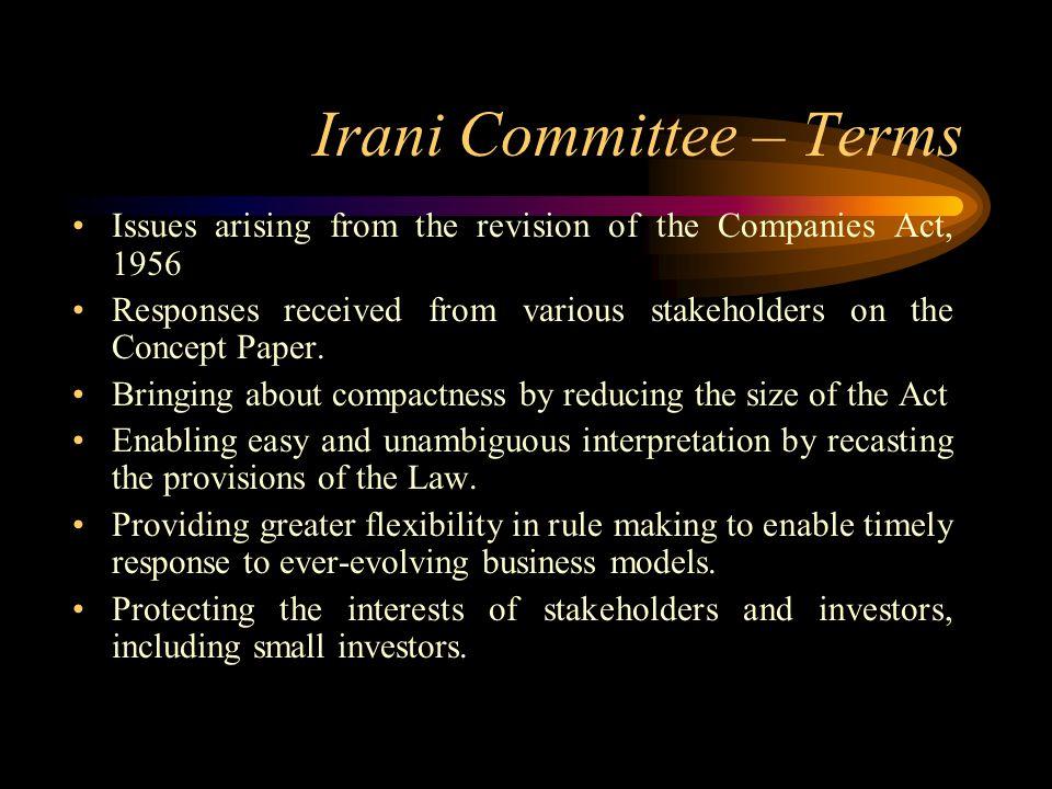 Irani Committee – Terms