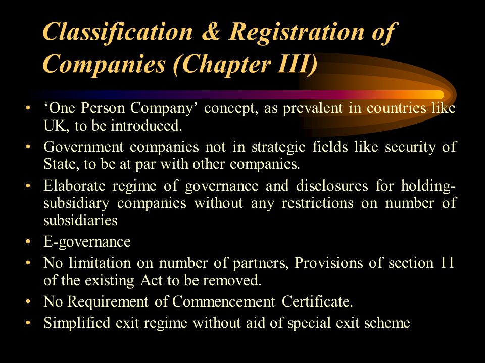 Classification & Registration of Companies (Chapter III)