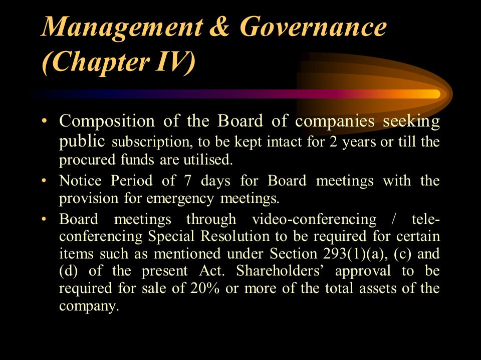 Management & Governance (Chapter IV)