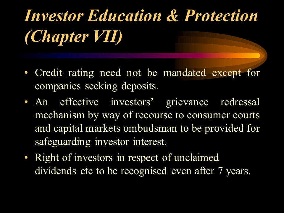 Investor Education & Protection (Chapter VII)