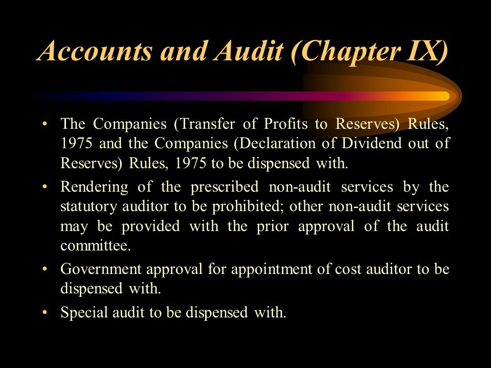 Accounts and Audit (Chapter IX)