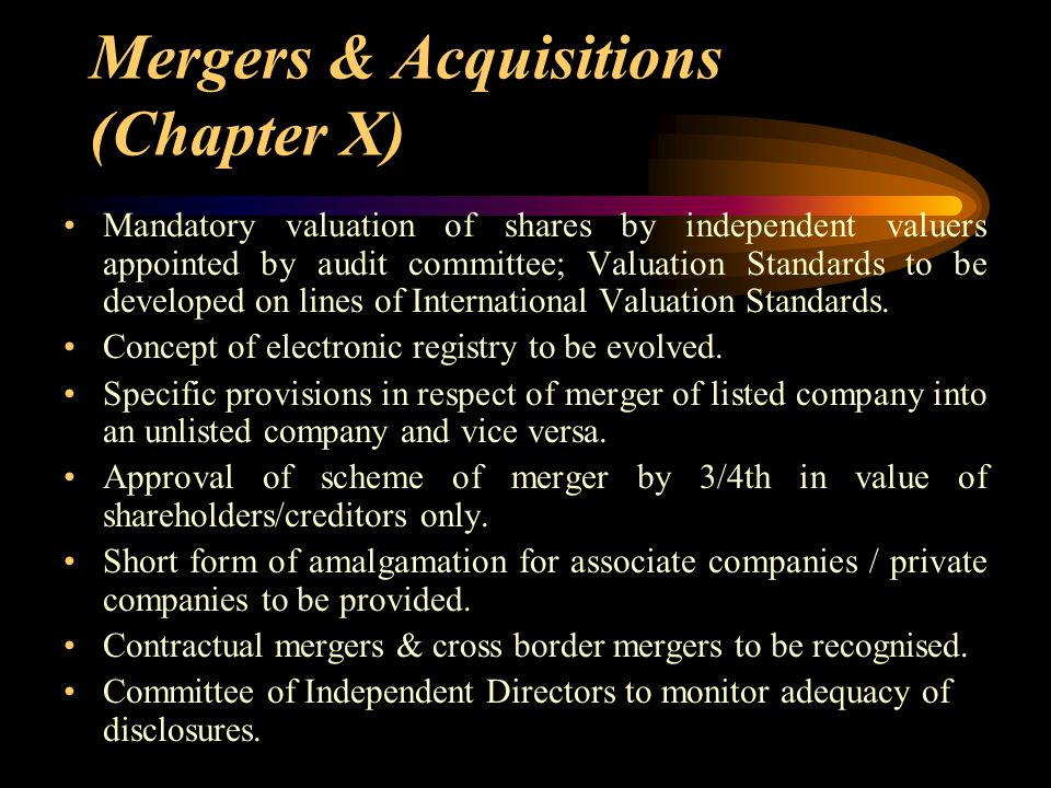 Mergers & Acquisitions (Chapter X)