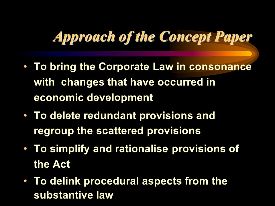 Approach of the Concept Paper