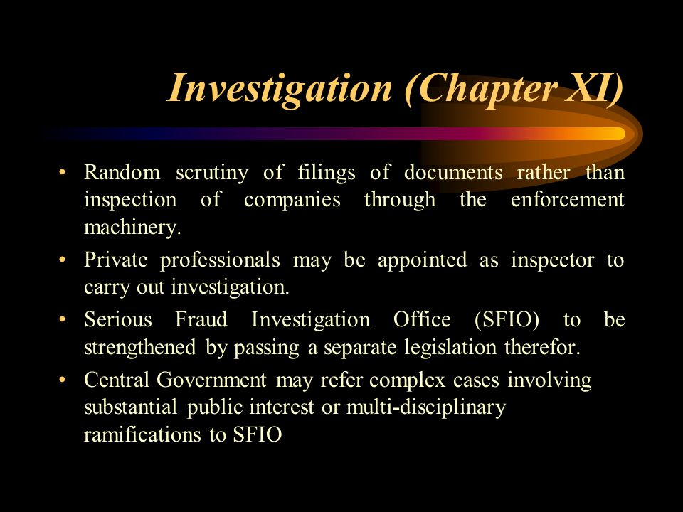 Investigation (Chapter XI)