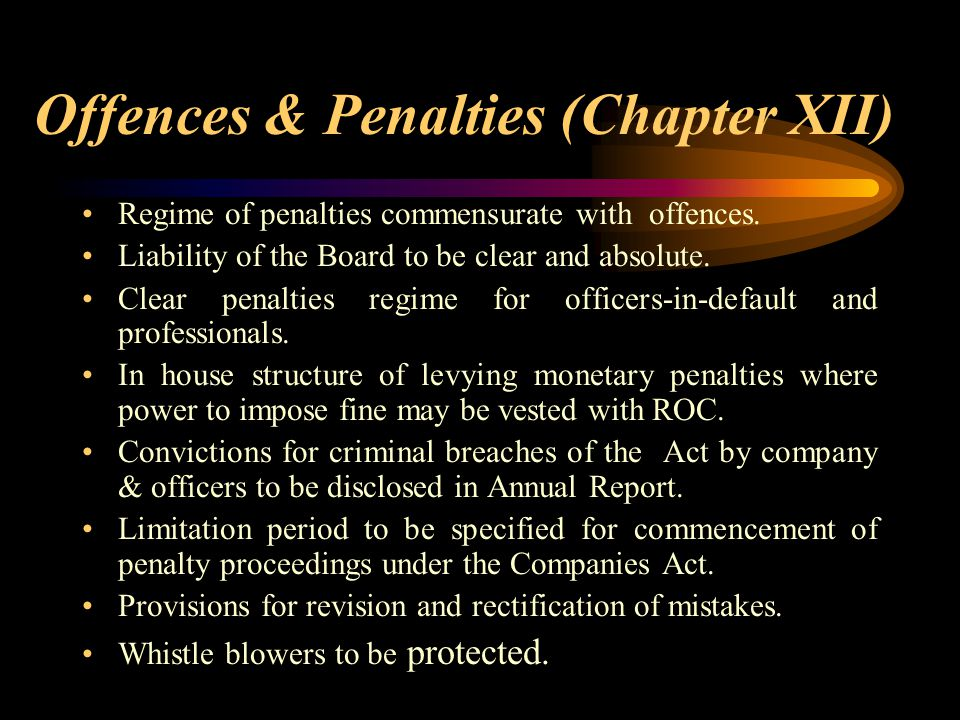Offences & Penalties (Chapter XII)