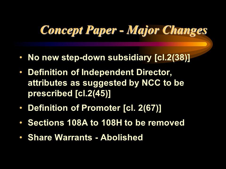 Concept Paper - Major Changes