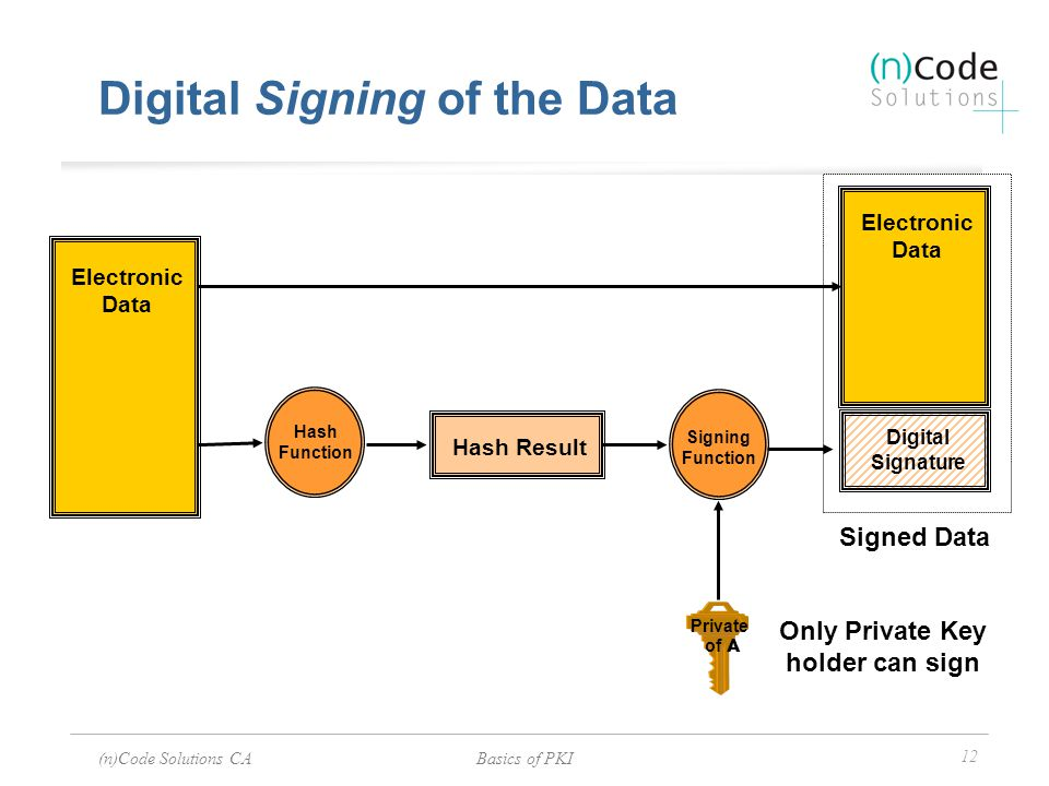 Digital Signing of the Data