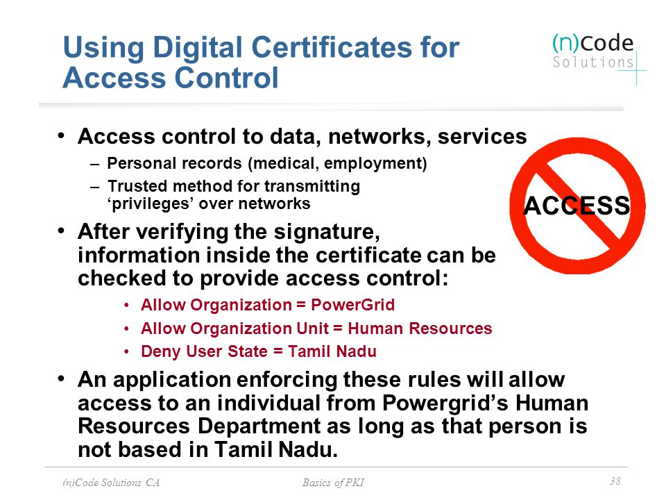 Using Digital Certificates for Access Control