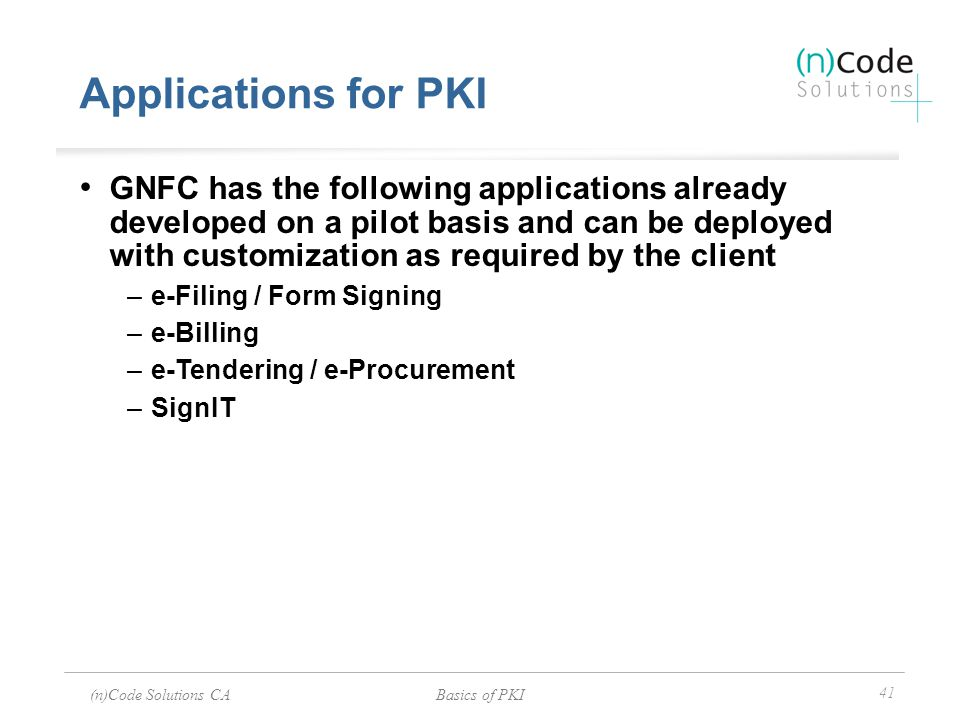 Applications for PKI