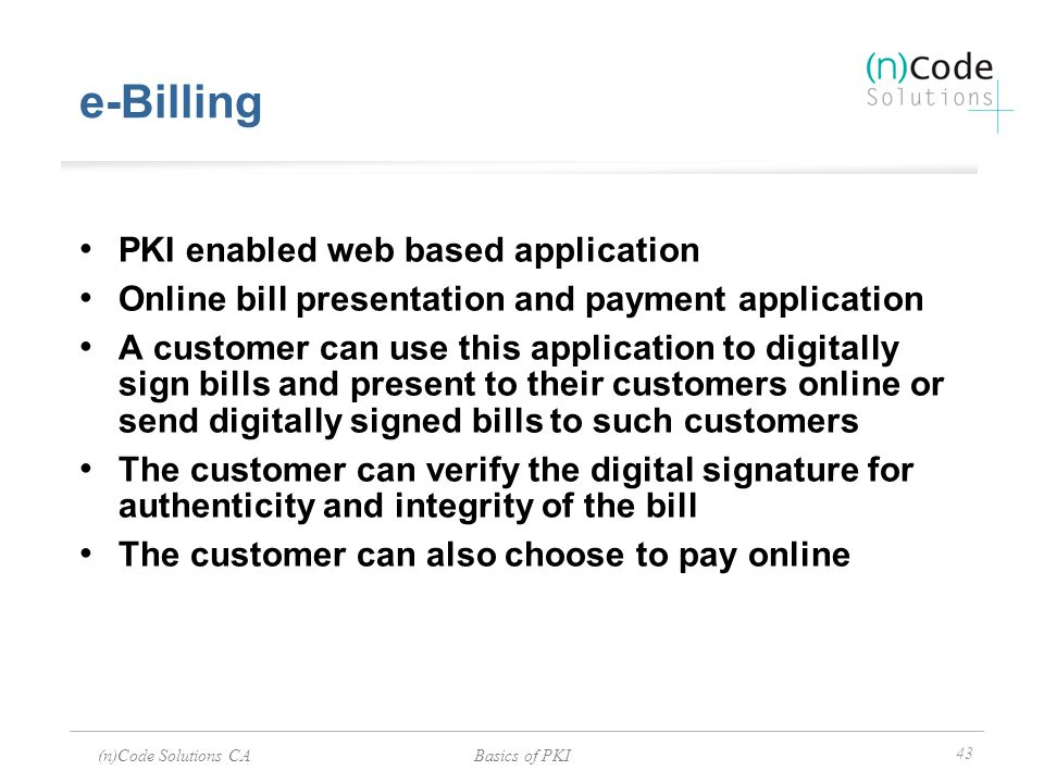 e-Billing PKI enabled web based application