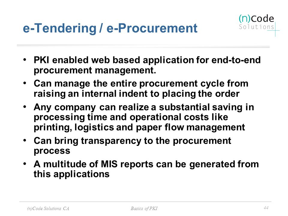e-Tendering / e-Procurement