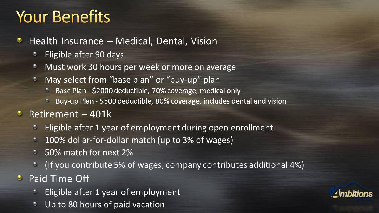 Your Benefits Health Insurance – Medical, Dental, Vision