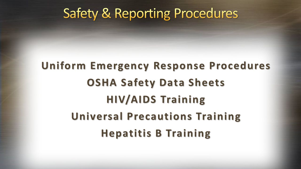 Safety & Reporting Procedures