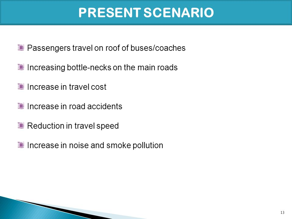 PRESENT SCENARIO Passengers travel on roof of buses/coaches