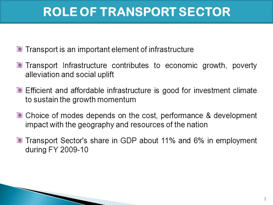 ROLE OF TRANSPORT SECTOR