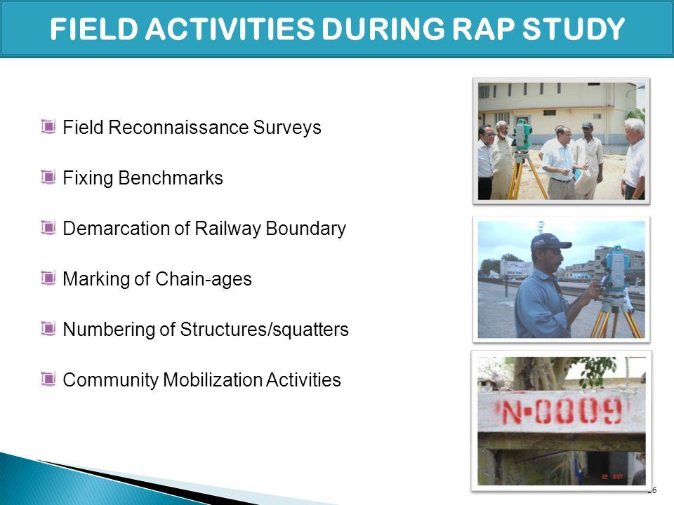 FIELD ACTIVITIES DURING RAP STUDY
