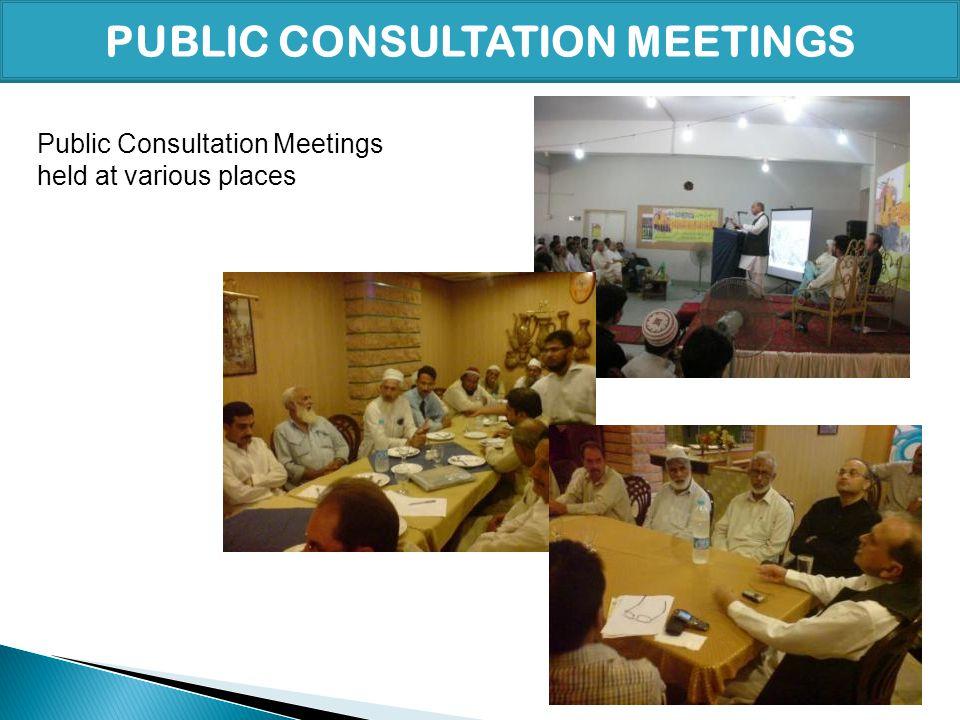 PUBLIC CONSULTATION MEETINGS