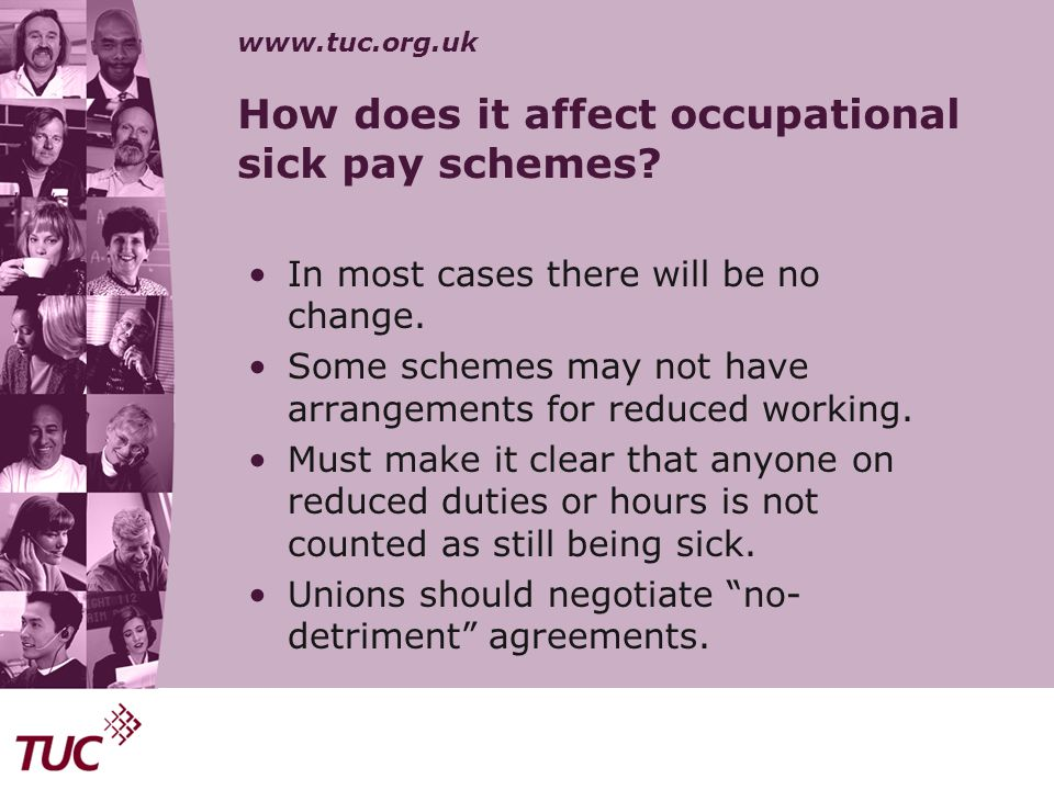 How does it affect occupational sick pay schemes