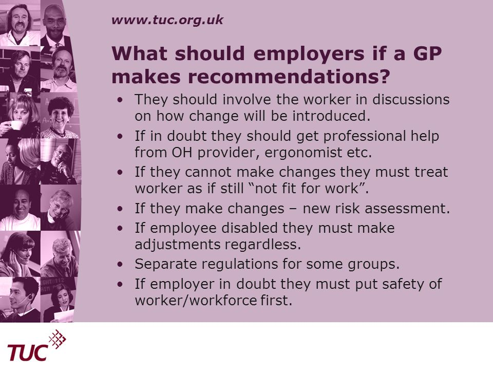 What should employers if a GP makes recommendations