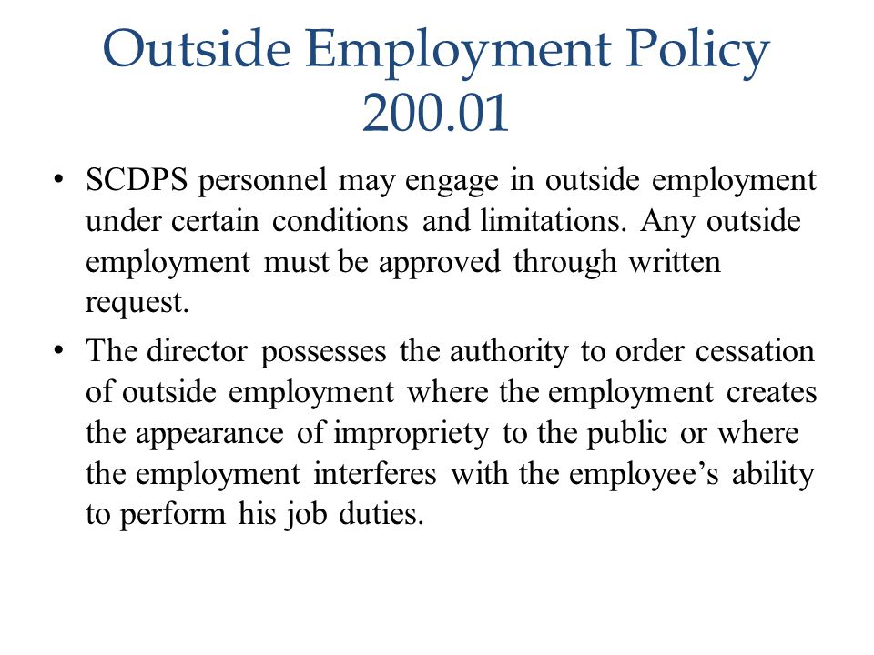 Outside Employment Policy 200.01