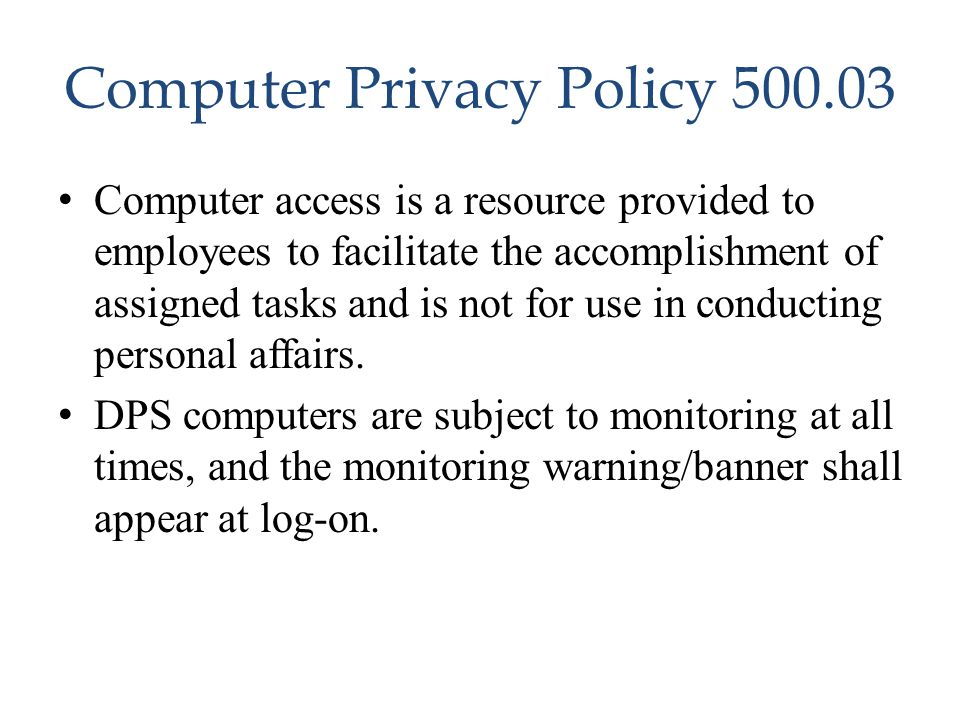 Computer Privacy Policy 500.03