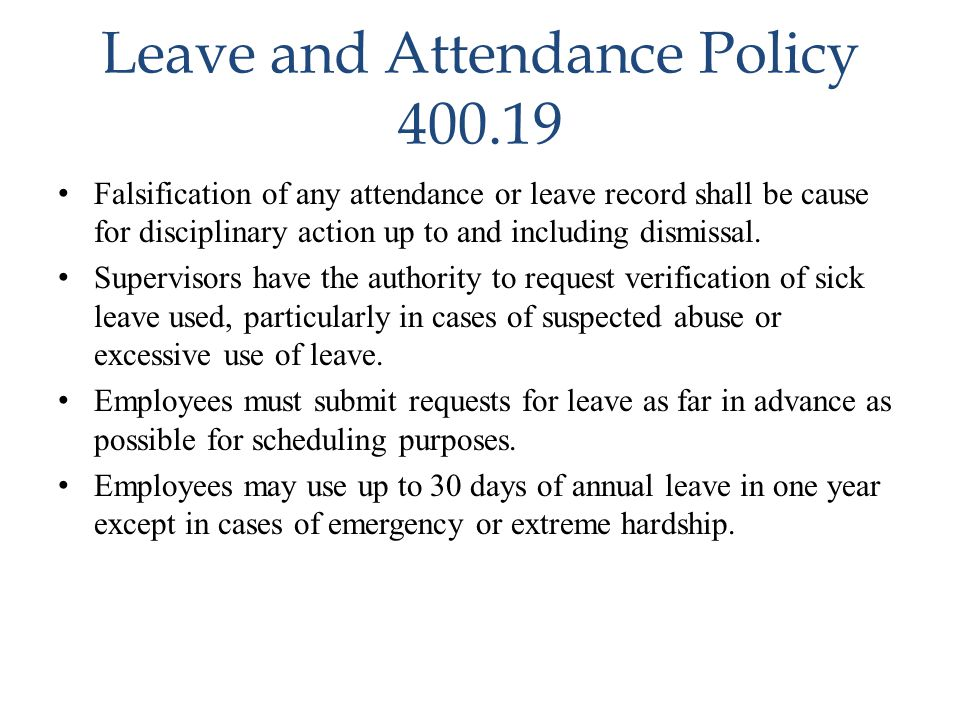 Leave and Attendance Policy 400.19