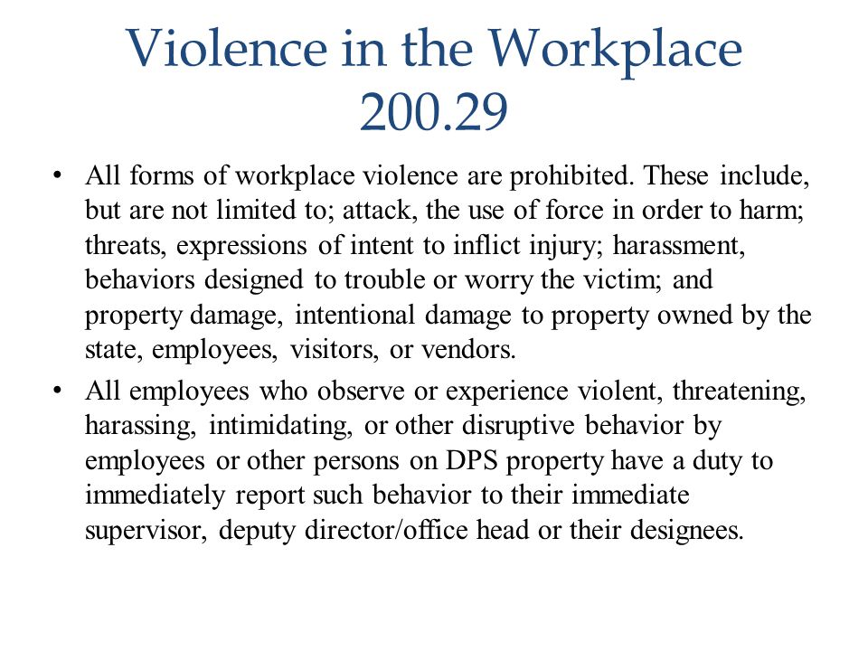 Violence in the Workplace 200.29