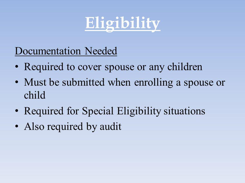 Eligibility Documentation Needed
