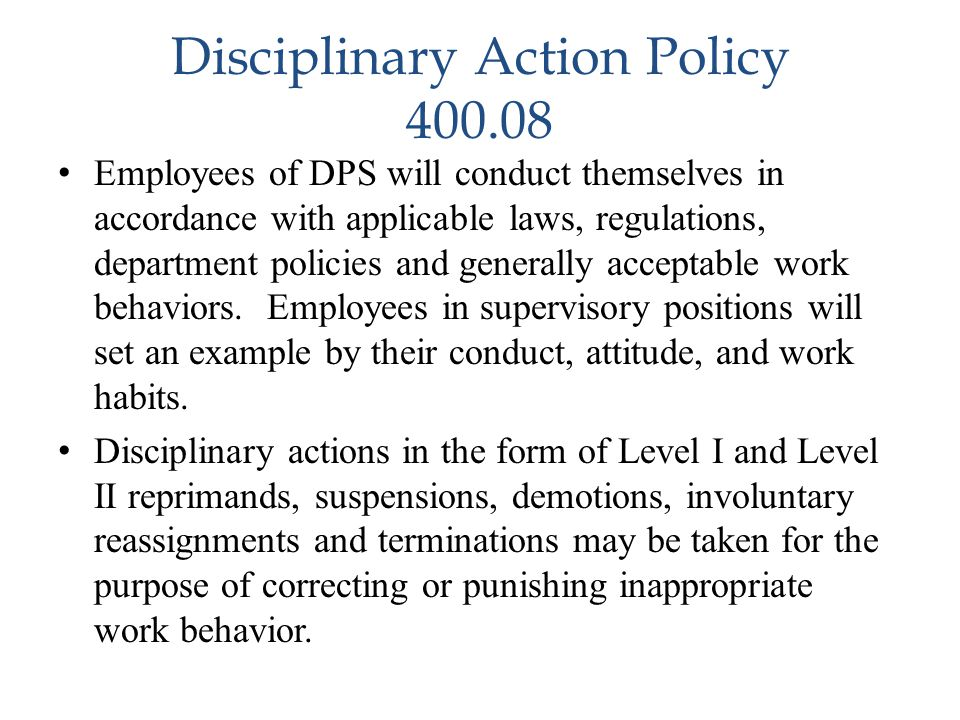 Disciplinary Action Policy 400.08