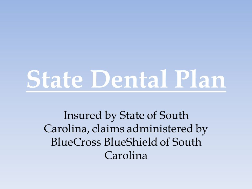 State Dental Plan Insured by State of South Carolina, claims administered by BlueCross BlueShield of South Carolina.
