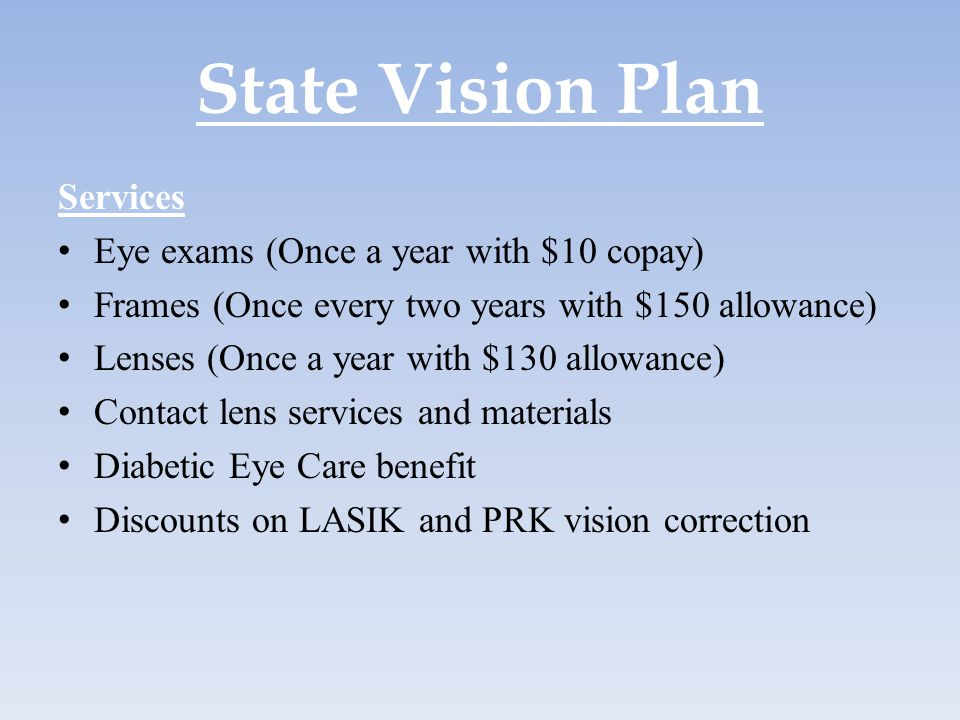 State Vision Plan Services Eye exams (Once a year with $10 copay)