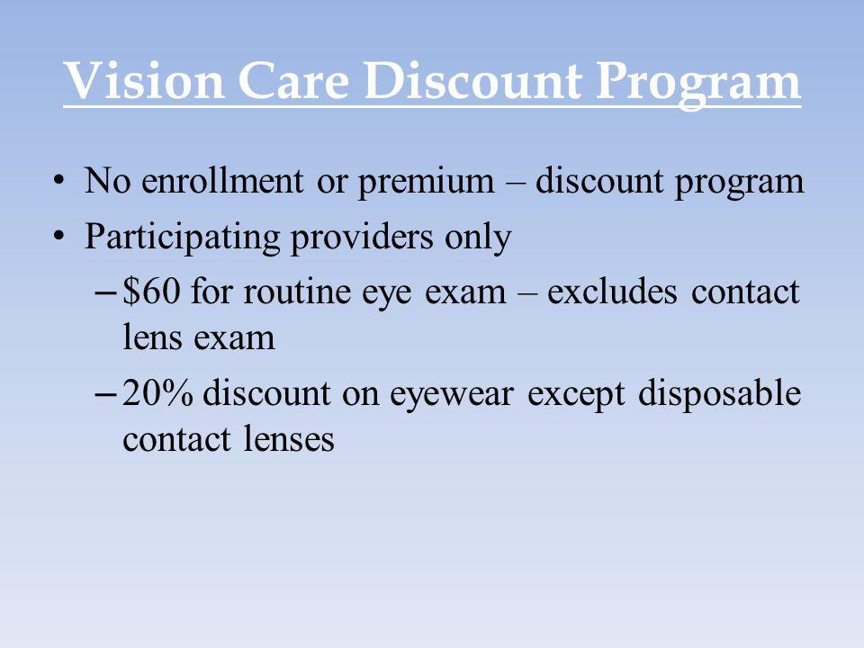 Vision Care Discount Program