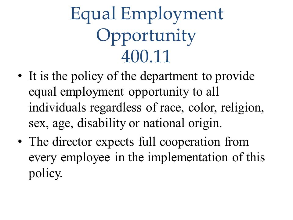 Equal Employment Opportunity 400.11