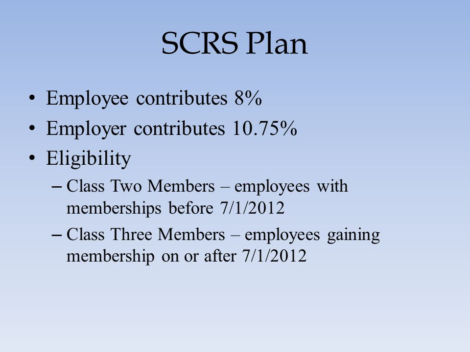 SCRS Plan Employee contributes 8% Employer contributes 10.75%