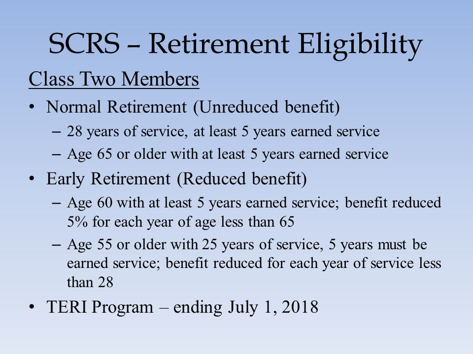 SCRS – Retirement Eligibility