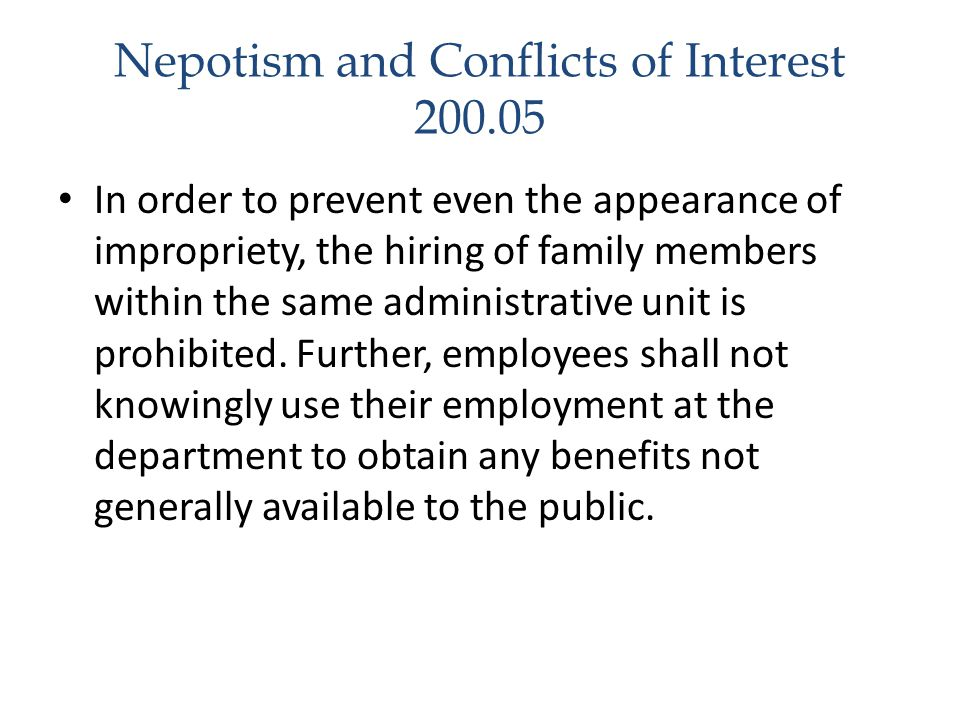 Nepotism and Conflicts of Interest 200.05
