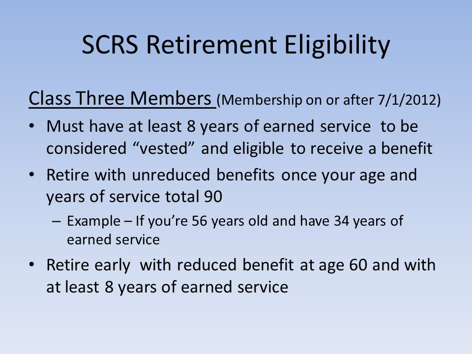 SCRS Retirement Eligibility