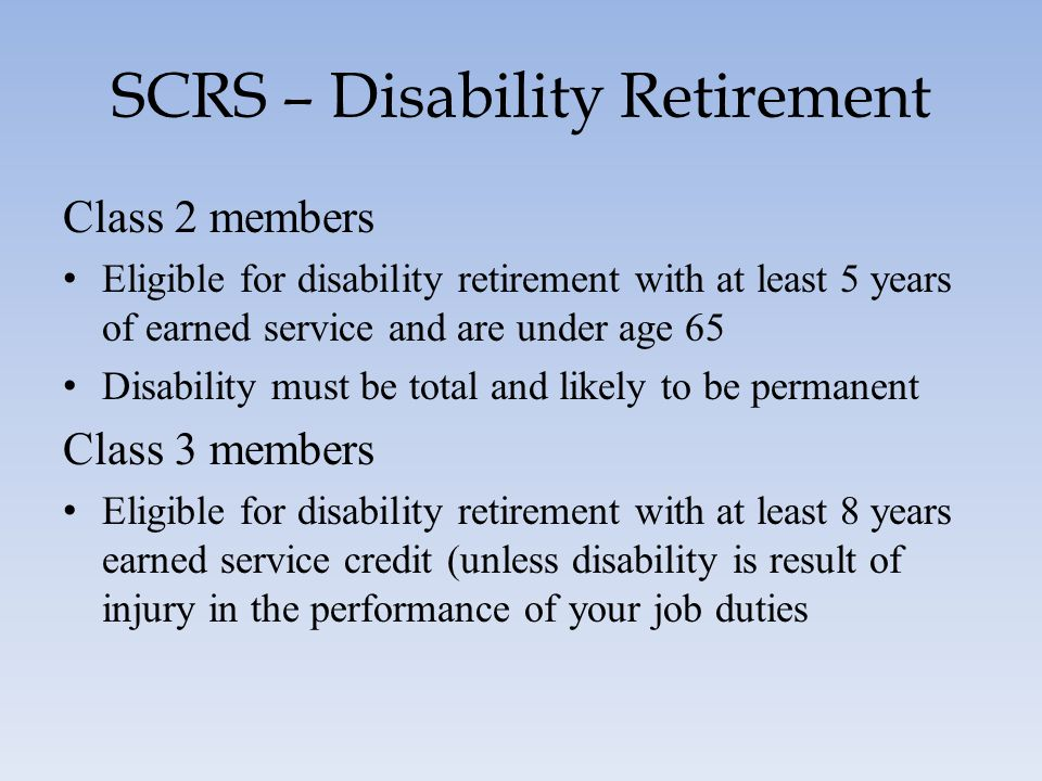 SCRS – Disability Retirement