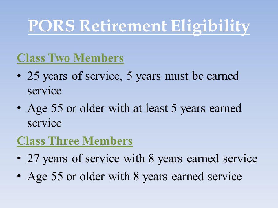 PORS Retirement Eligibility