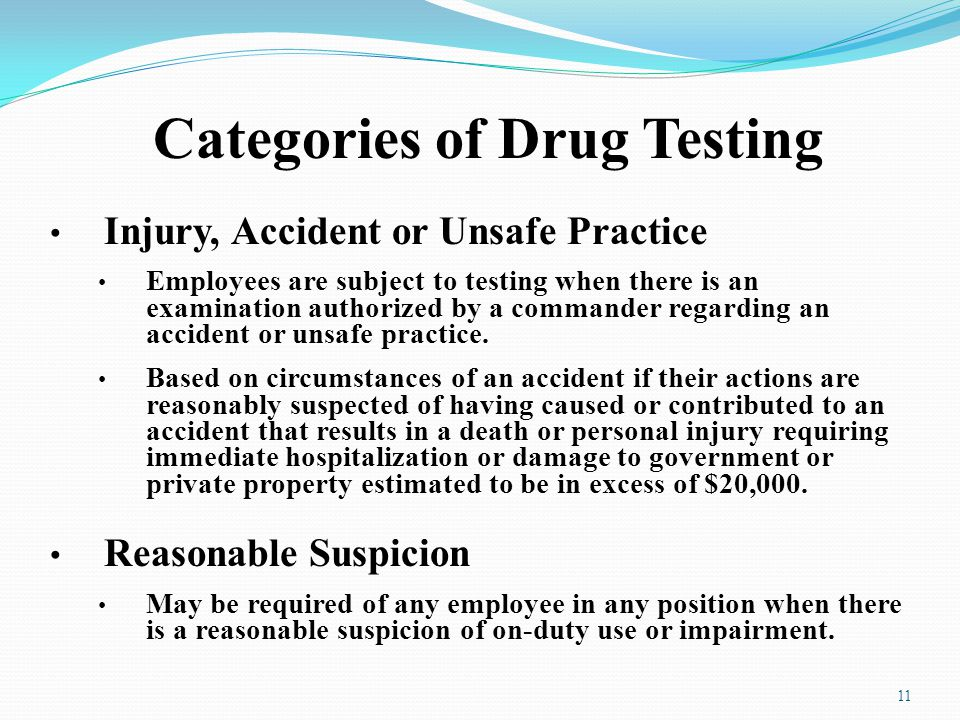Categories of Drug Testing